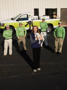 The crew at Mosquito Squad of Columbia. Our own little Sophie Dog is happy and flea free!