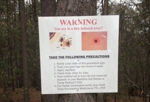 safe tick practices sign Fort Jackson Columbia SC